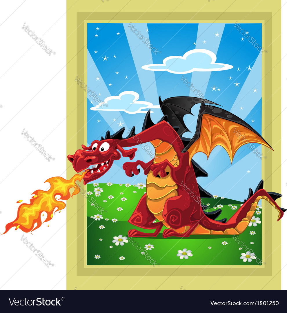 Dragon on the fairytale landscape vector | Price: 3 Credit (USD $3)