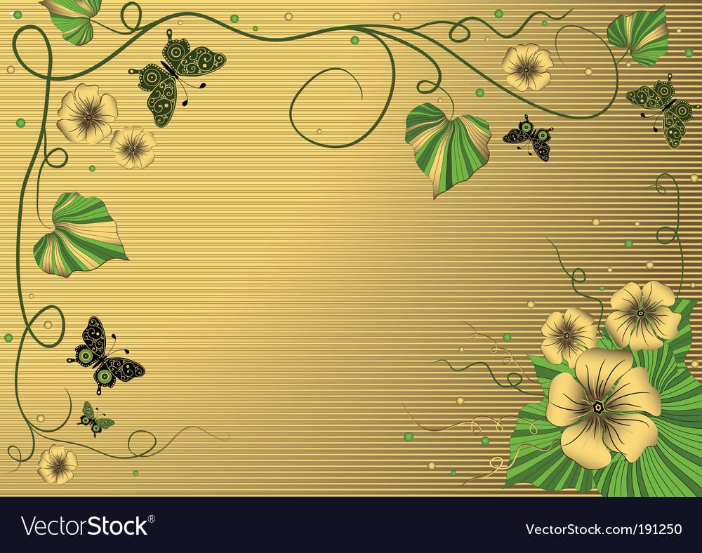 Floral gold frame vector | Price: 1 Credit (USD $1)