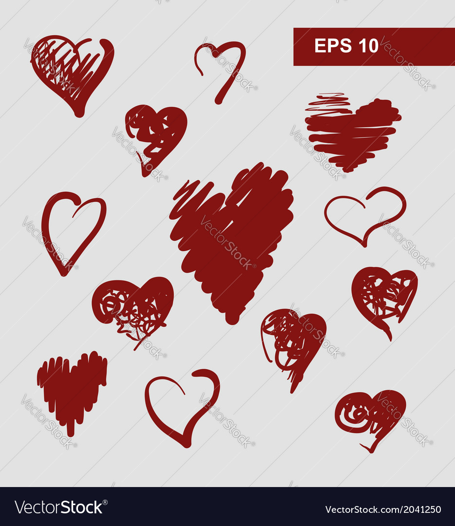 Hearts set for wedding and valentine design vector | Price: 1 Credit (USD $1)