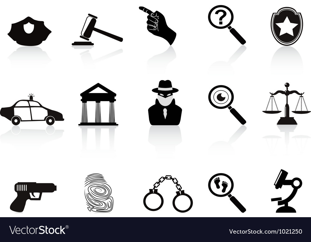Law and crime icons set vector | Price: 1 Credit (USD $1)
