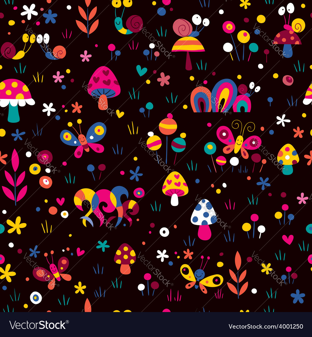 Mushrooms snails cute pattern vector | Price: 1 Credit (USD $1)