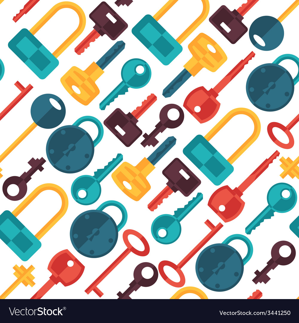 Seamless pattern with locks and keys icons vector | Price: 1 Credit (USD $1)