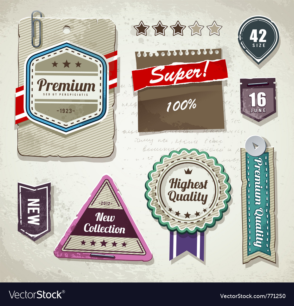 Set of grunge paper labels vector | Price: 3 Credit (USD $3)