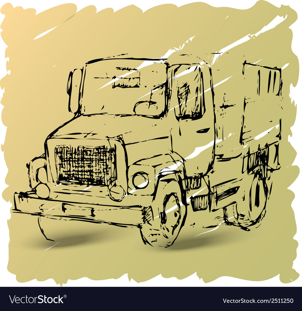 Sketch of a truck on a brown background vector | Price: 1 Credit (USD $1)