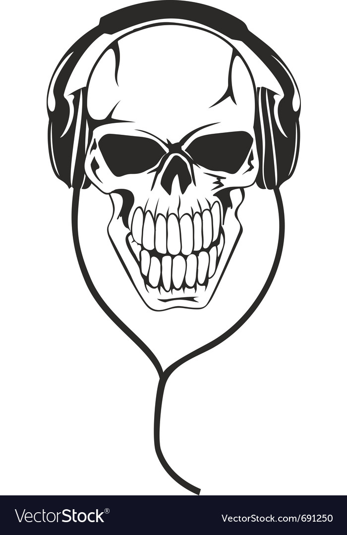 Skull in stereo earphones vector