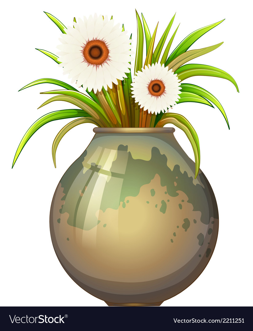 A flowering plant in a big pot vector | Price: 1 Credit (USD $1)