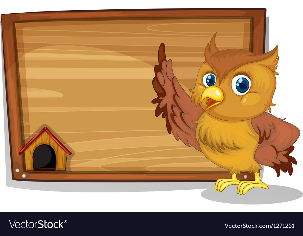 An empty signboard at the back of an owl vector | Price: 1 Credit (USD $1)