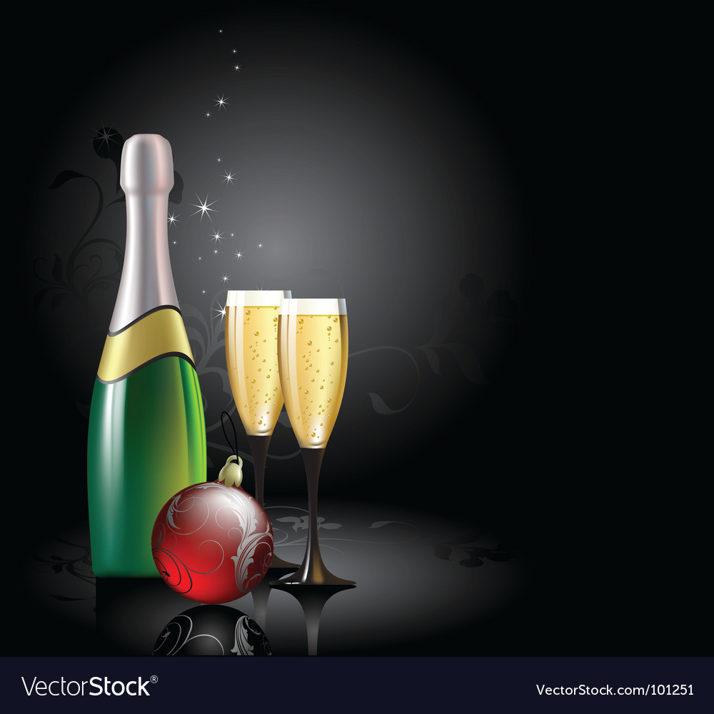 Champagne with fir ball vector | Price: 3 Credit (USD $3)