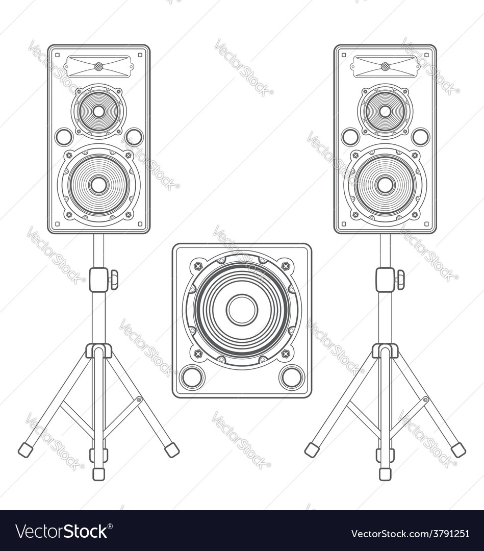 Dark contour loudspeakers on stands and subwoofer vector | Price: 1 Credit (USD $1)