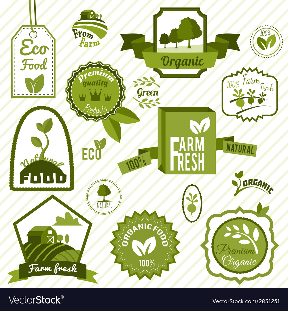 Green eco labels vector | Price: 1 Credit (USD $1)