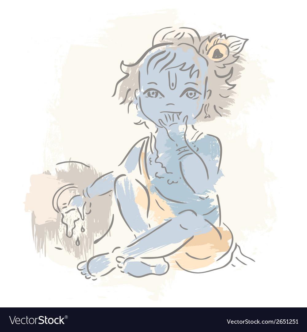 Hindu god krishna vector | Price: 1 Credit (USD $1)