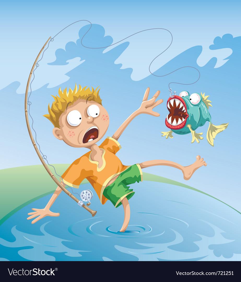 Horrible fishing accident vector | Price: 5 Credit (USD $5)