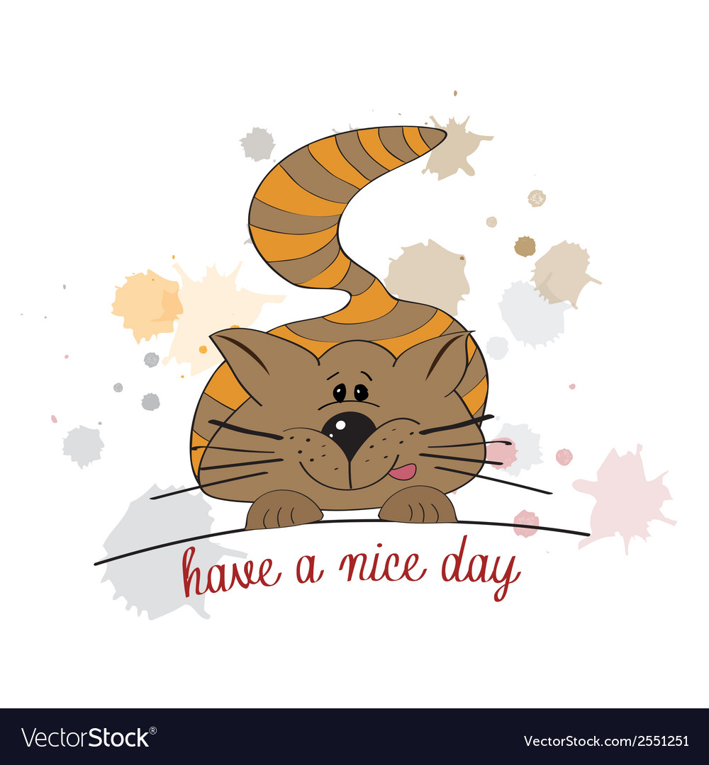 Kitty wishes you a nice day vector | Price: 1 Credit (USD $1)