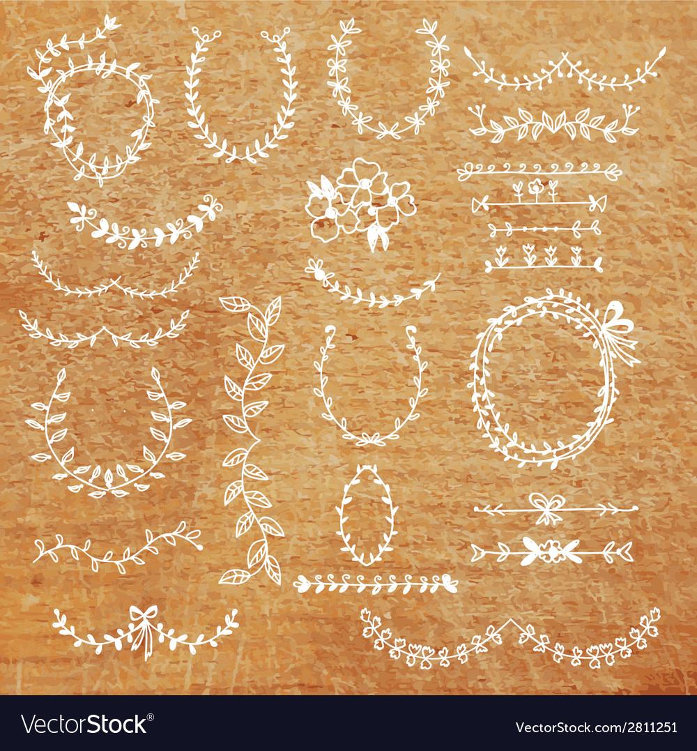 Laurels set - banner frame design elements hand vector | Price: 1 Credit (USD $1)