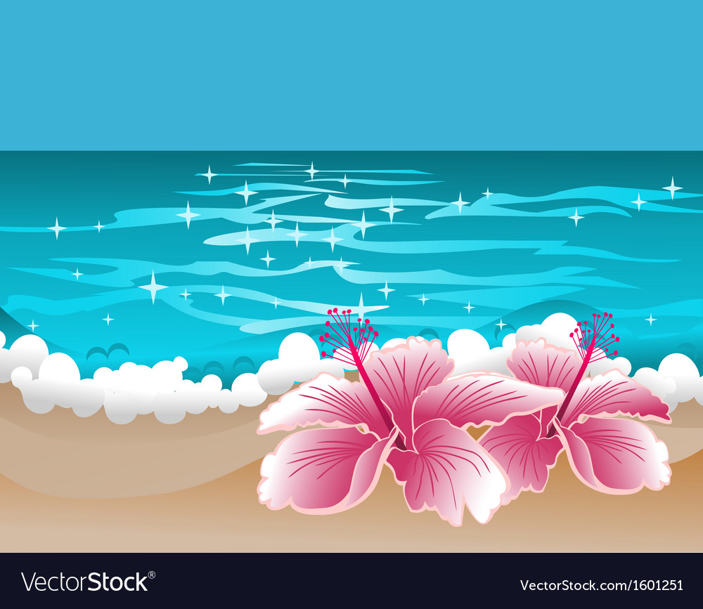 Paradise background with hibiscus and sweet ocean vector | Price: 1 Credit (USD $1)