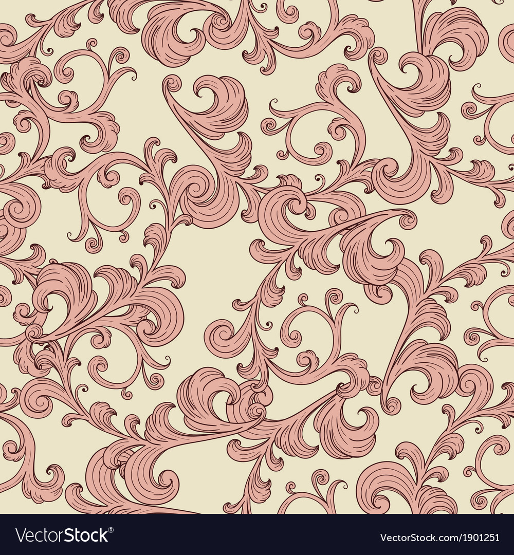 Seamless romantic background with vintage floral o vector | Price: 1 Credit (USD $1)