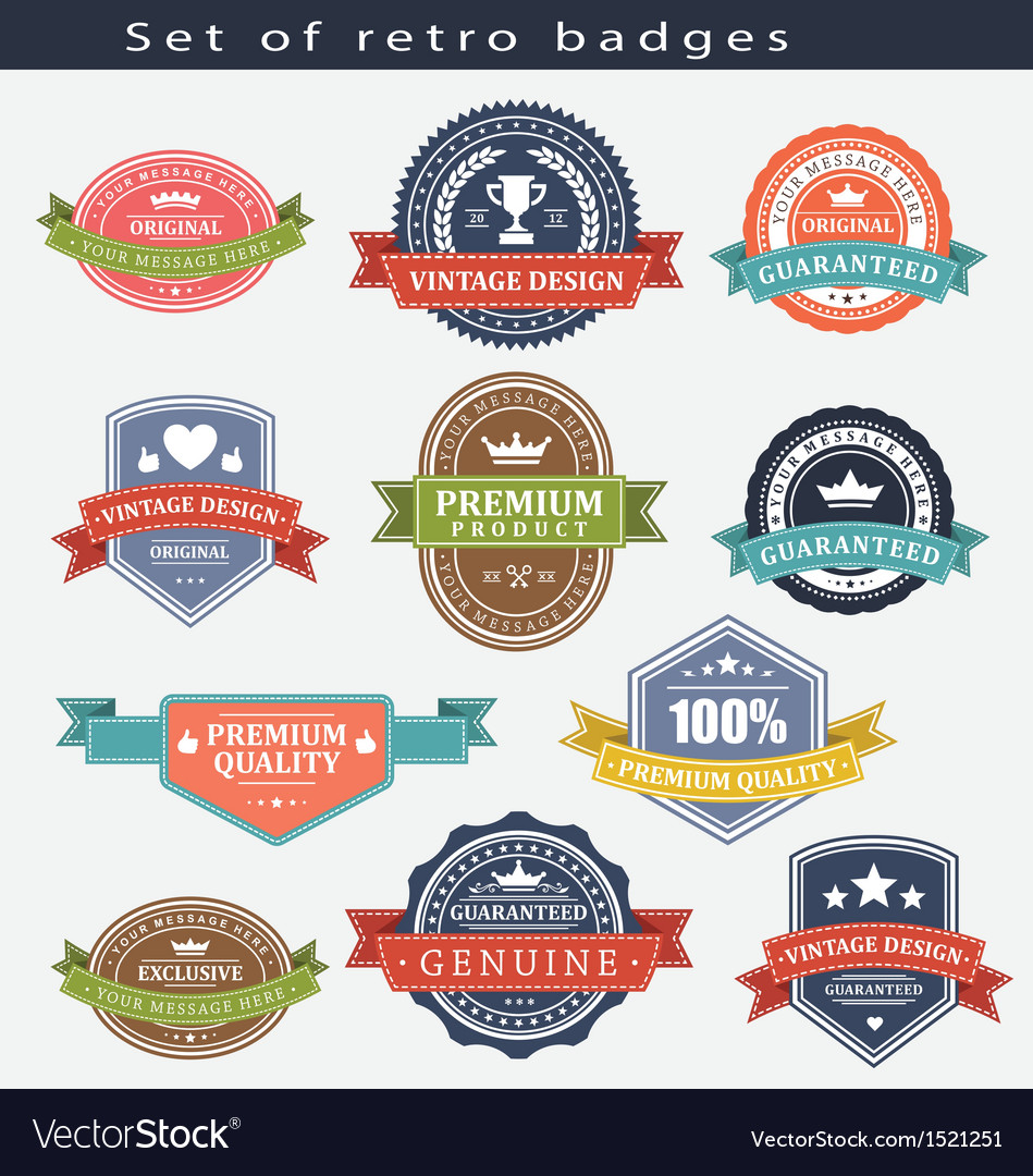 Set of retro badges and labels vector | Price: 1 Credit (USD $1)
