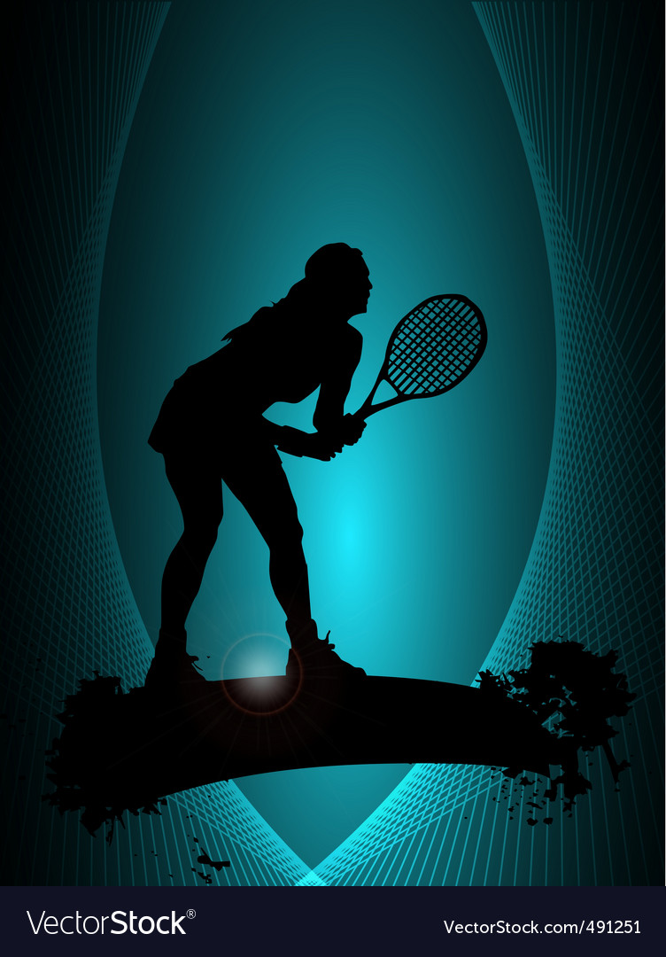 Tennis player poster vector | Price: 1 Credit (USD $1)