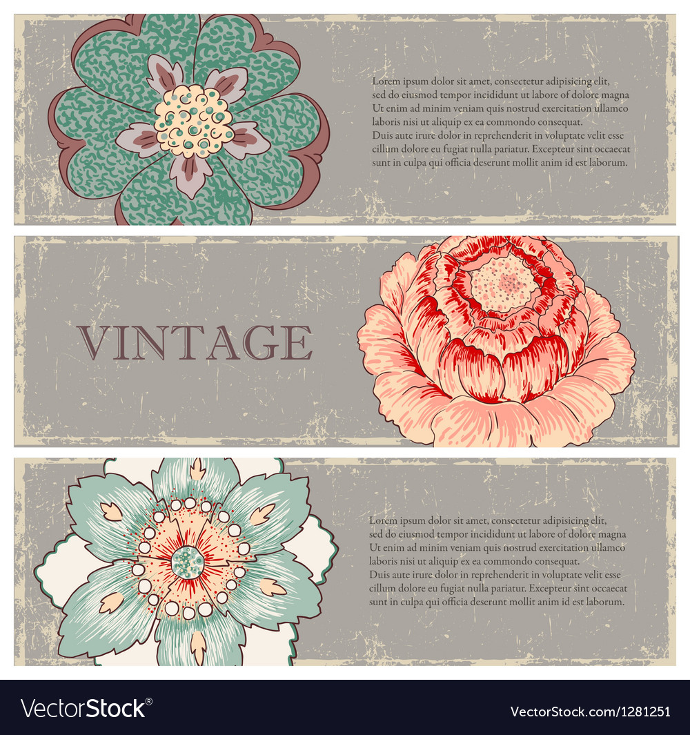 Vintage flowers banners set vector | Price: 1 Credit (USD $1)