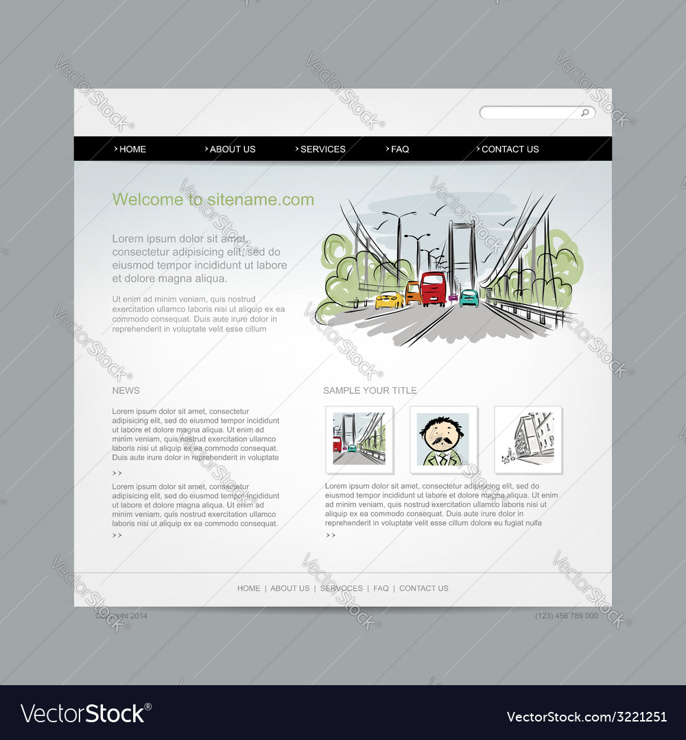 Website design template cityscape vector | Price: 1 Credit (USD $1)
