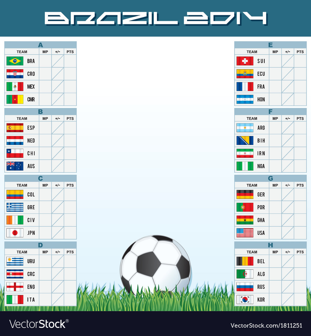 World soccer championship groups vector | Price: 1 Credit (USD $1)