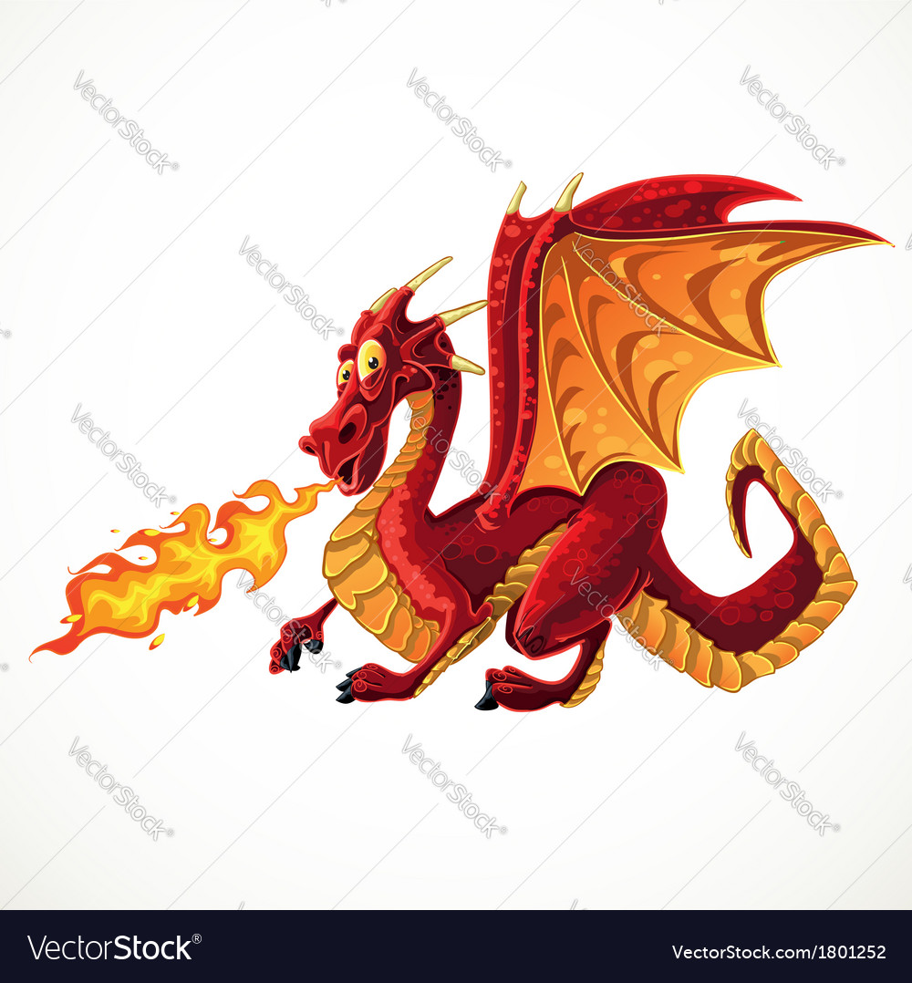 Fabulous magical red fire-spitting dragon vector | Price: 3 Credit (USD $3)