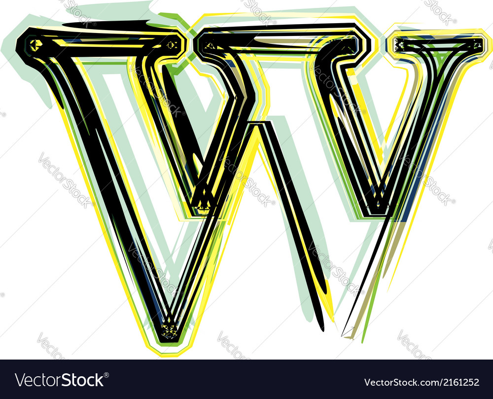 Font letter w vector | Price: 1 Credit (USD $1)