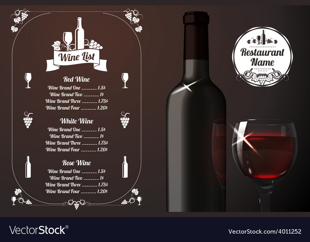 Menu template - for alcohol with realistic red vector | Price: 1 Credit (USD $1)