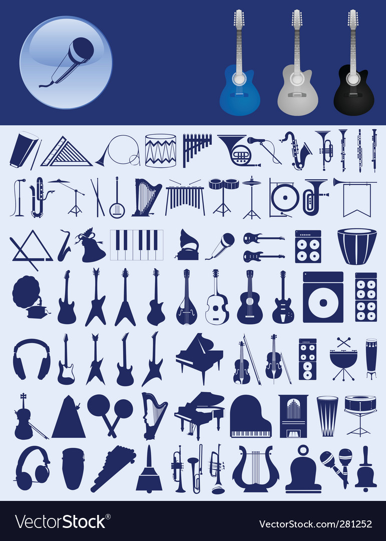 Musical icons vector | Price: 1 Credit (USD $1)