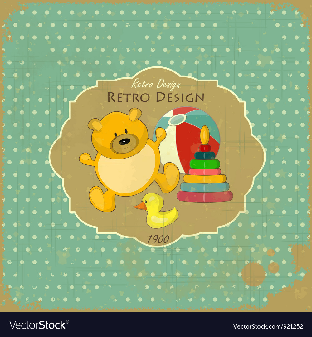Old toys on vintage background vector | Price: 1 Credit (USD $1)