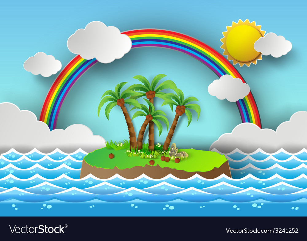 Palm with island and rainbow vector | Price: 3 Credit (USD $3)