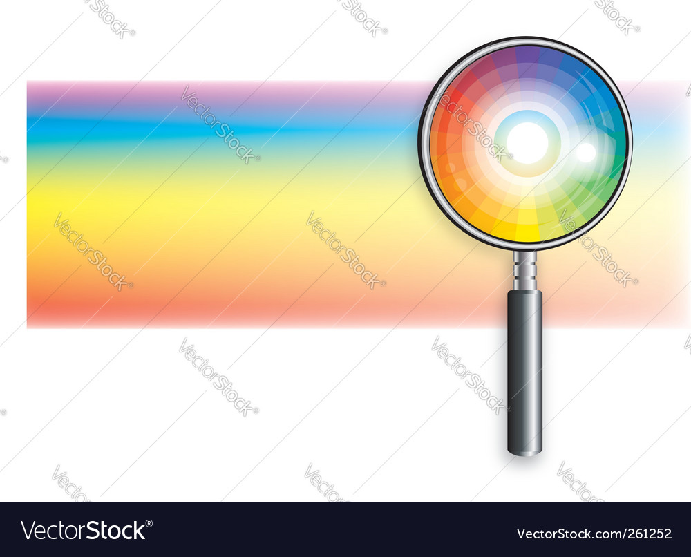 Rainbow under magnifying glass vector | Price: 1 Credit (USD $1)