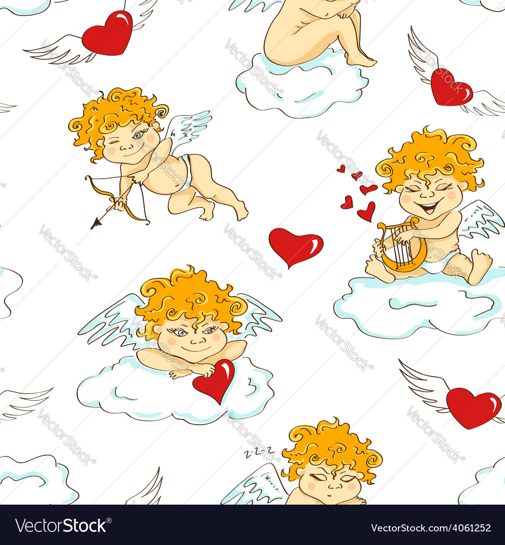 Seamless pattern with funny cartoon cupids vector | Price: 1 Credit (USD $1)
