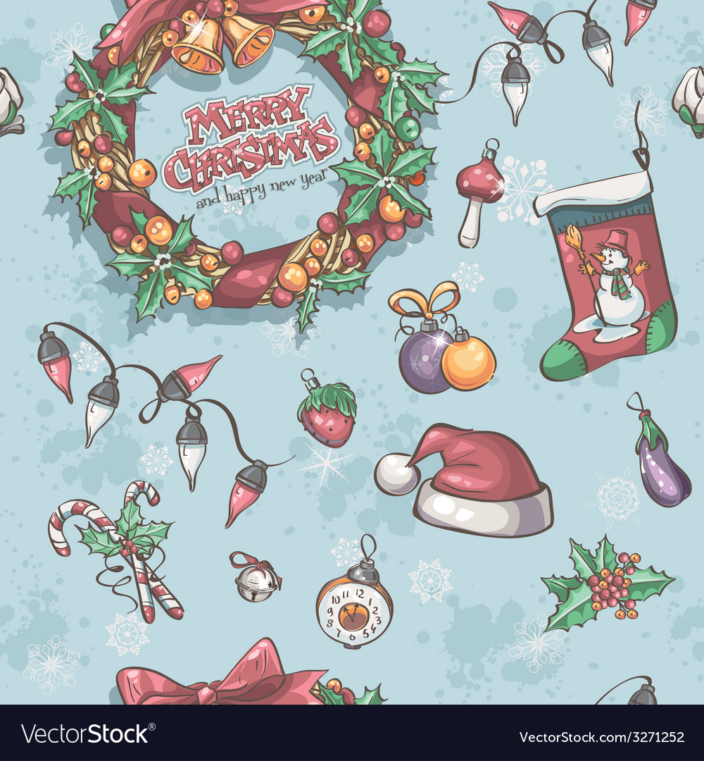 Seamless texture with christmas wreath garlands vector   Price: 3 Credit (USD $3)