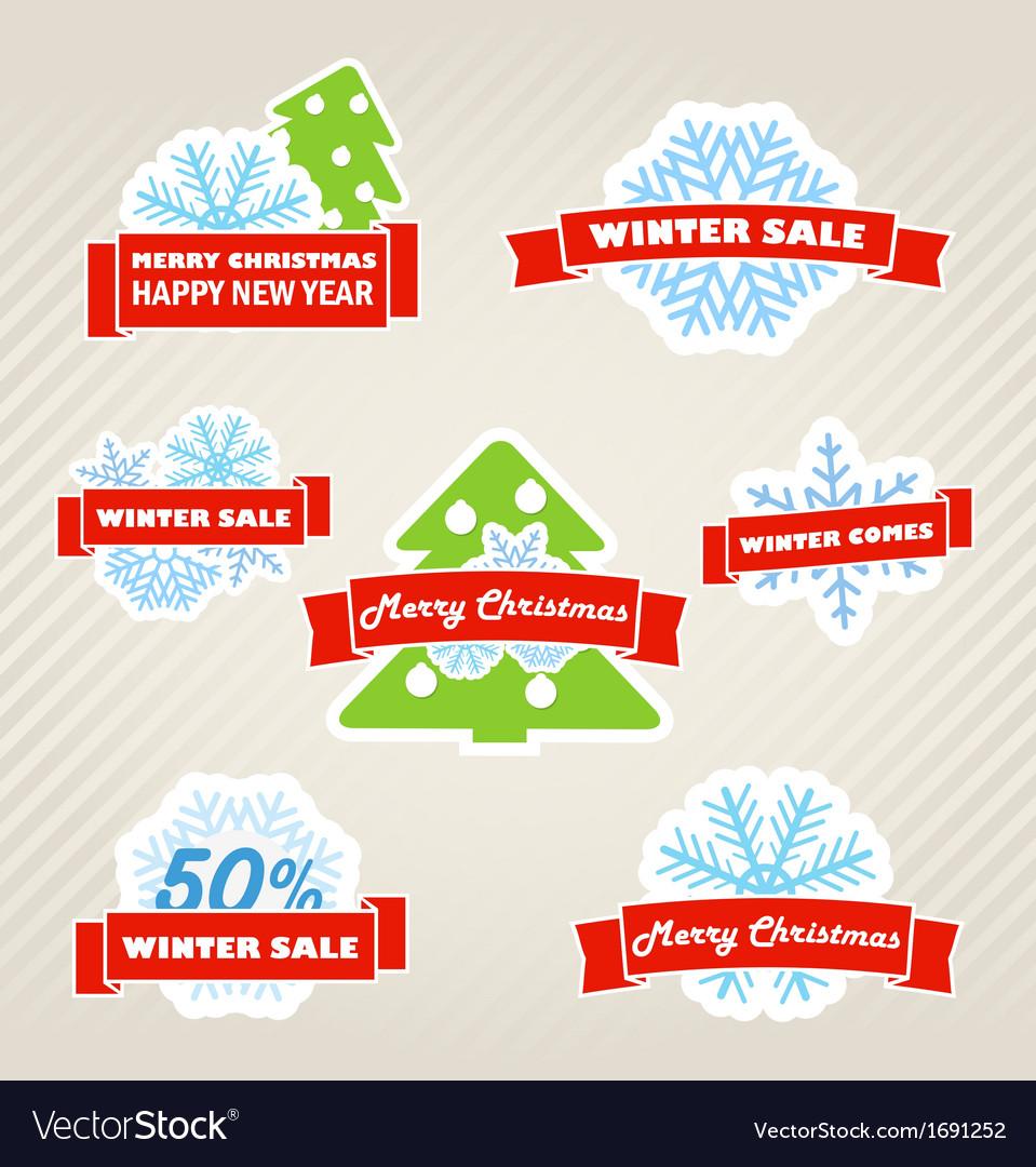 Winter labels set vector | Price: 1 Credit (USD $1)