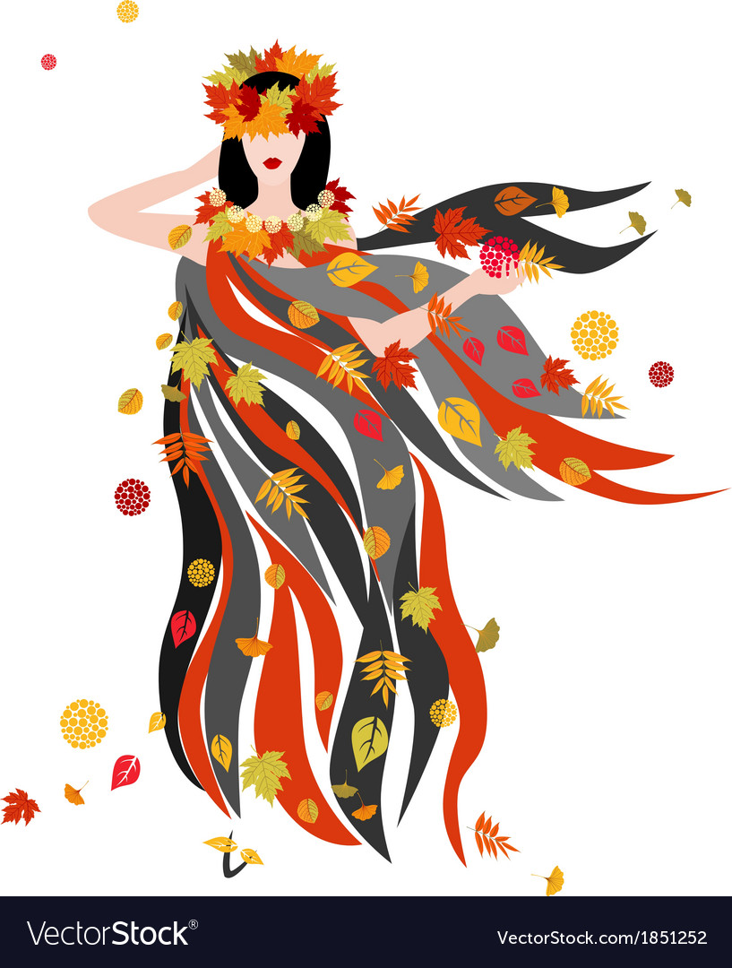 The women of autumn season vector | Price: 1 Credit (USD $1)