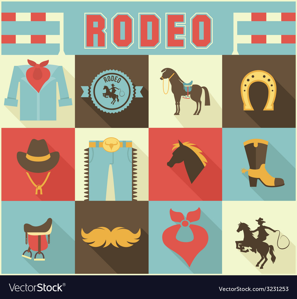 Assortment of rodeo themed icons vector | Price: 1 Credit (USD $1)