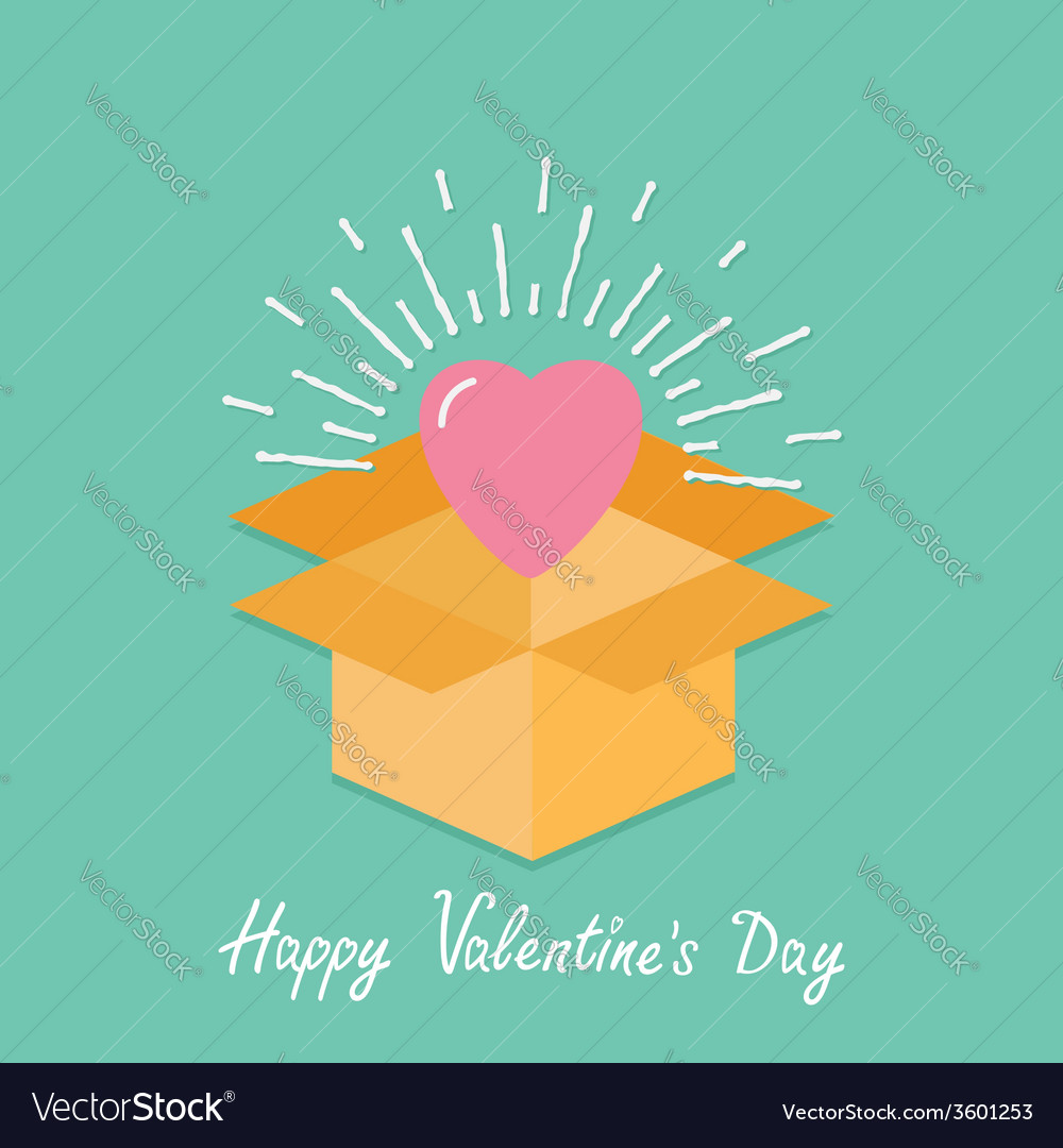 Big pink shining heart in the box flat design vector | Price: 1 Credit (USD $1)