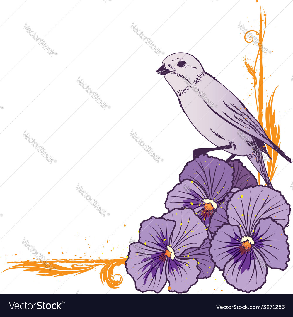 Border with violet pansies and bird vector   Price: 1 Credit (USD $1)
