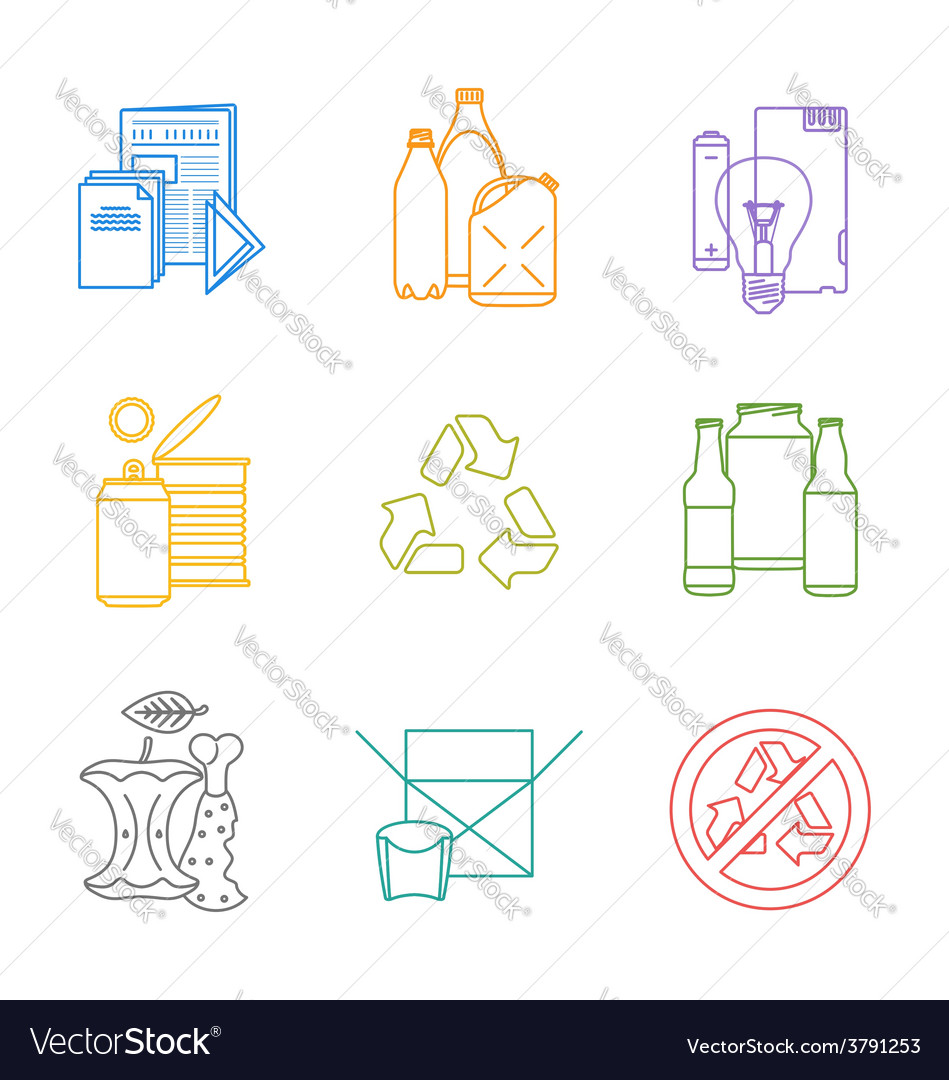 Colored groups outline various garbage separate vector | Price: 1 Credit (USD $1)