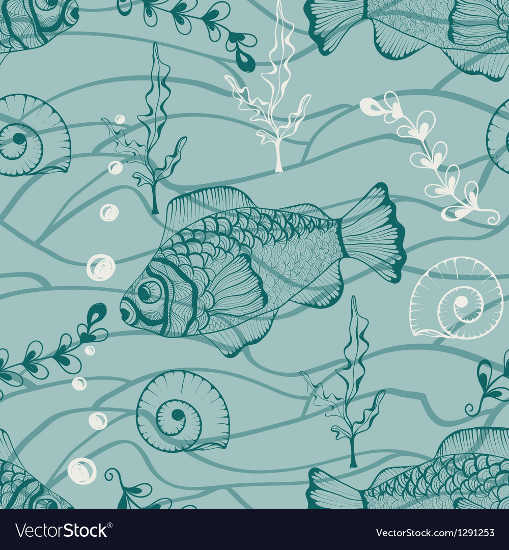 Seamless underwater pattern vector | Price: 1 Credit (USD $1)
