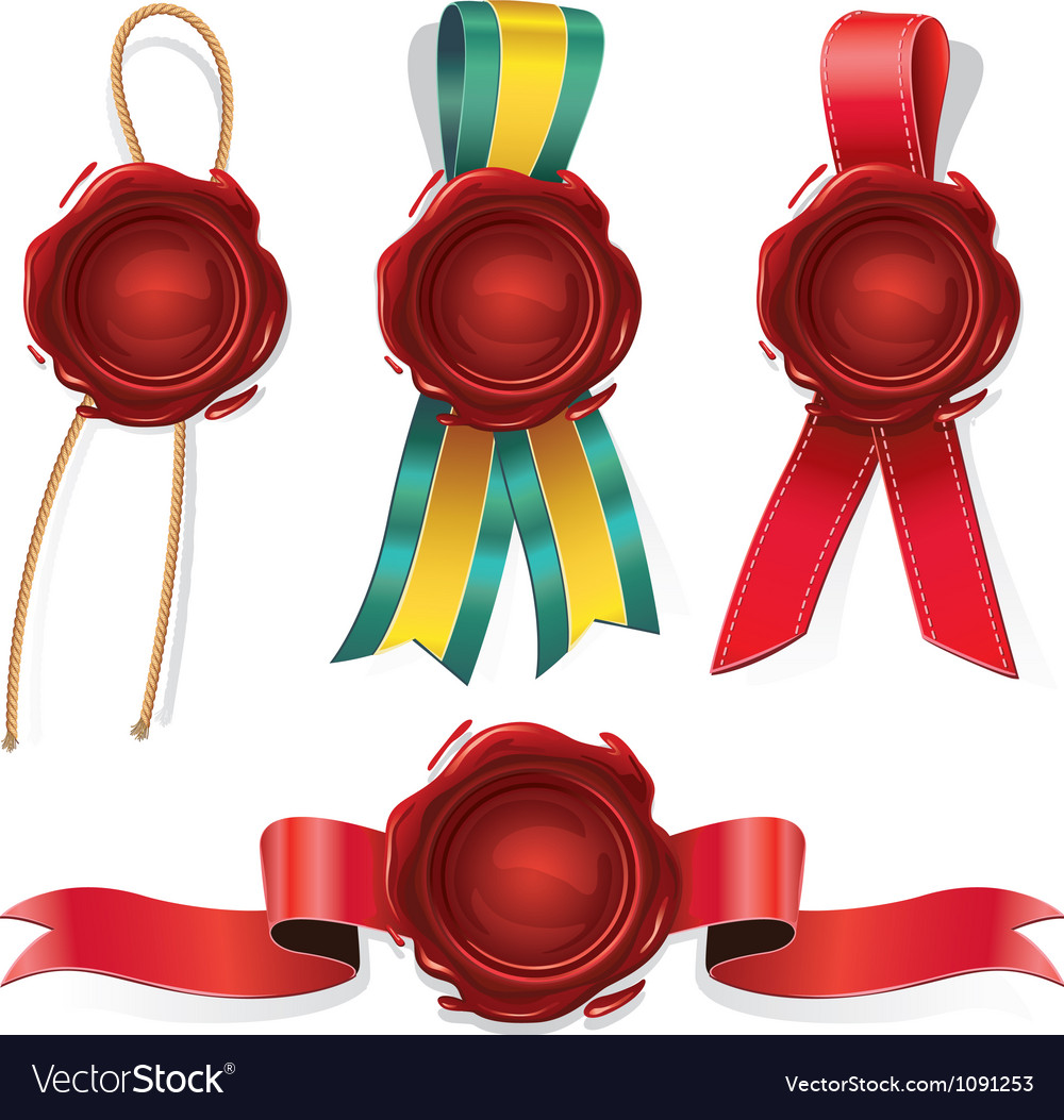 Set of red wax seals with ribbon and rope vector | Price: 1 Credit (USD $1)