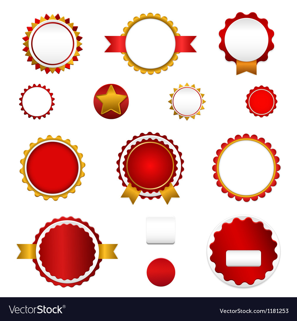 Set of sale badges labels and stickers in red vector | Price: 1 Credit (USD $1)