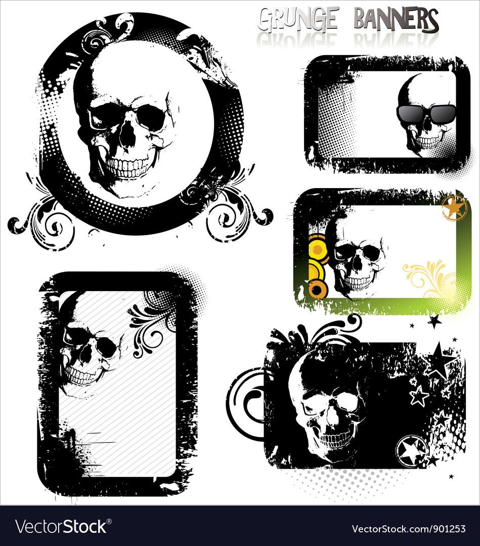 Skull grunge banner - set vector | Price: 1 Credit (USD $1)