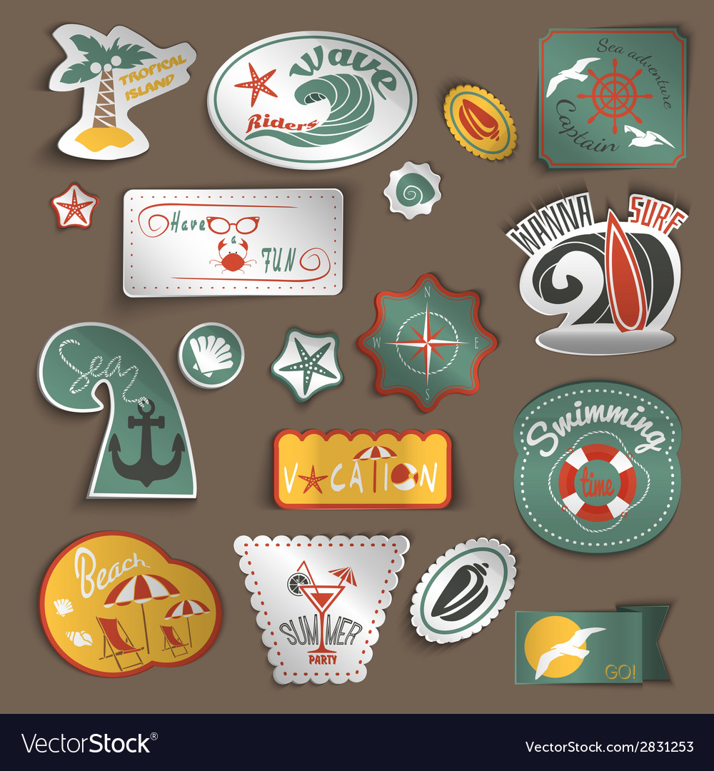 Travel stickers set vector | Price: 1 Credit (USD $1)
