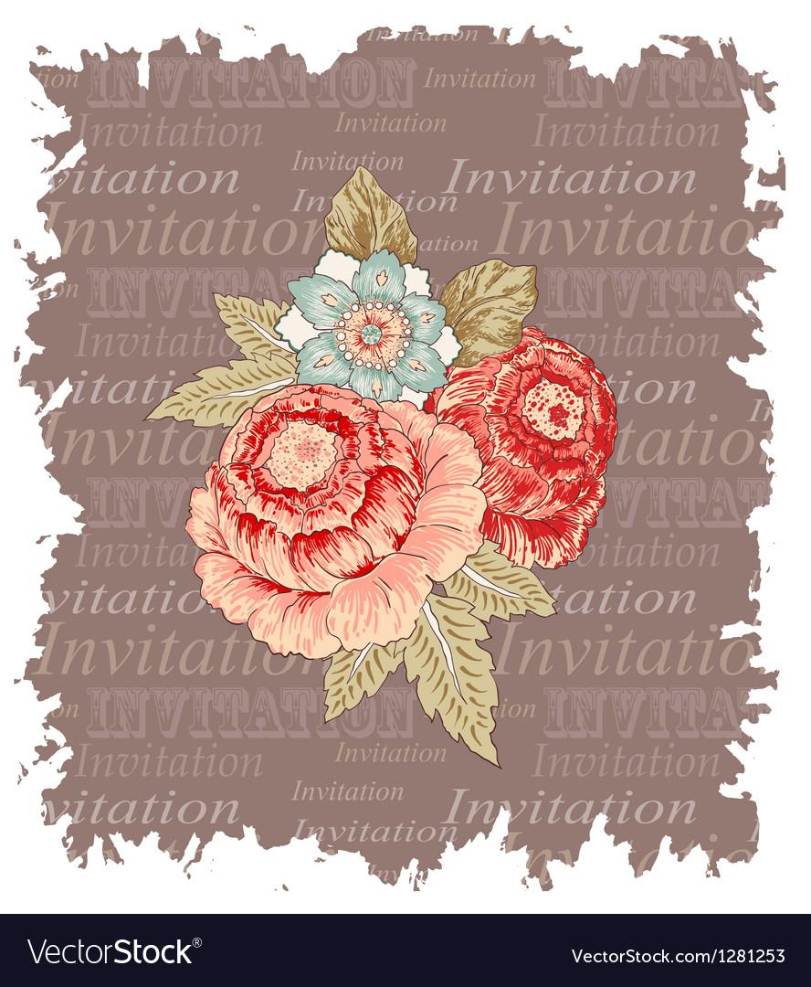 Vintage flowers invitation vector | Price: 1 Credit (USD $1)