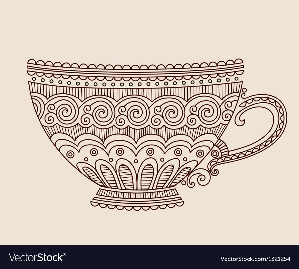 A cup of patterns on light brown background vector | Price: 1 Credit (USD $1)