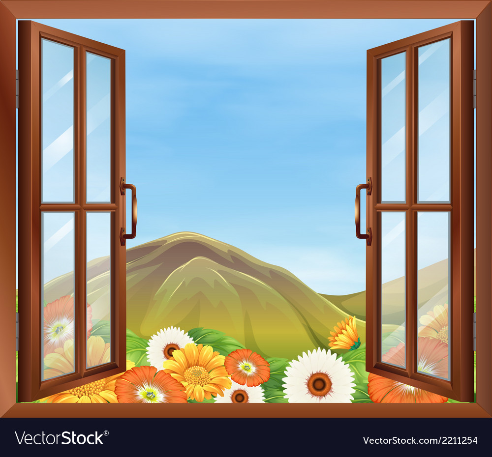A window with a view of the blooming flowers vector | Price: 1 Credit (USD $1)