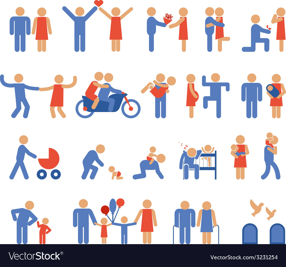 Assortment of family and couple pictogram icons vector | Price: 1 Credit (USD $1)