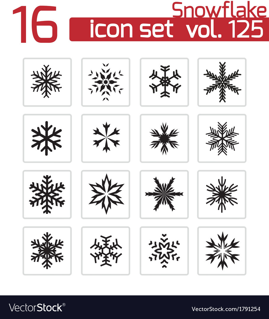 Black snowflake icons set vector | Price: 1 Credit (USD $1)